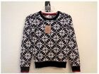 Lands' End Girls Nordic Snowflake Cotton Knit Sweater Crew Neck Black and Cream
