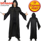 CA416 Wizard Black Cloak Robe Costume Harry Potter Merlin Hobbit Fancy Dress Up