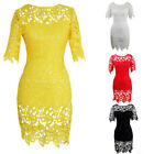 Sexy Lady Women Cut Cocktail Lace Bodycon Formal Dress Evening Party Plus Size