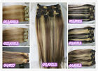 USPS Full Head Women Clip in 100% Real Soft Human Hair Extensions 15-32inch Mix
