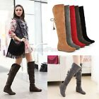Ladies Womens Fashion Faux Suede Lace Up Over The Knee Boots Shoes Plus Size C86