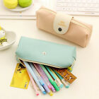 Leather Zipper Pencil Pen Case Stationary Cosmetic Bag Brush Storage Pouch New
