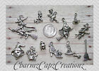 12pc Halloween Witches/Witch/Charm Set Lot Collection/Jewelry/Rings,Clasps,Bails