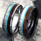 8mm Tungsten or Ceramic Men's Deer Antler Turquoise Wood Wedding Band Ring