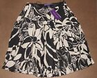 $1,998 Ralph Lauren Purple Label Womens Skirt Black White Silk Flared Pleated