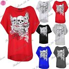 Women Floral Oversize Baggy Batwing Sleeve Crown Young Forever Skull T Shirt Top