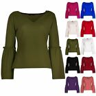 Women's Ladies V Neck Casual Crepe Long Flared Bell Sleeve V Neck Tee shirt Top