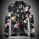 Mens Printed Floral Stand Collar Baseball Coat Slim Fit Jacket Nightclubs Casual
