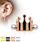 Crown Surgical Steel Ear Cartilage Piercing Helix Cuff Shield Barbell Stud Ring