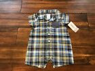 NWT Carter's Blue White Plaid Shorts Romper Boys Sunsuit Yellow Outfit 0 3 6 9