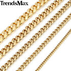 Mens Stainless Steel 3/5/7/9/11mm Gold Plated Curb Cuban Link Chain Necklace image