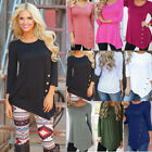 Plus Size Sexy Womens Autumn Hot Blouse 3/4 Sleeve Tops Button Fitted T Shirt