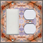 Metal Light Switch Plate Cover - Boho Home Decor Floral Medallion Orange Purple