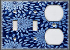 Metal Light Switch Plate Cover - Floral Mums Sunburst Home Decor - Dark Blue