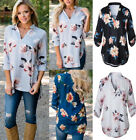 Sexy UK Womens Autumn Floral Blouse Tops Loose T Shirt Ladies V Neck Top 6-16