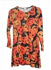 New Ladies Plus Size Long Sleeve Halloween Print Swing Gothic Fancy Dress