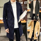 Winter Men Coat Long Jacket Overcoat Outwear Slim Single Breasted Trench Fashion