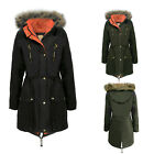 CLEARANCE NEW LADIES FISHTAIL PU HOODED FUR PARKA WOMENS JACKET COAT TOP