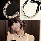 1PC Elegant Pearl Bubble Ribbon Bib Statement Necklace Chunky Collar 26cm FJ0560