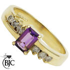 BJC® 9ct Yellow gold Amethyst & Diamond Solitaire Accented engagement ring R256