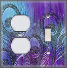 Metal Light Switch Plate Cover - Peacock Feather Art Home Decor Blue Purple 02