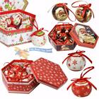 Set of 7 Traditional Christmas Santa Red White Baubles Decoration Tree Balls Box