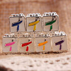 Muti-Color Enamel Ribbon Cancer Awareness Big Hole Beads Fit European Bracelet