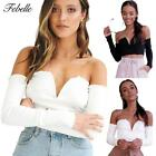 Chic Womens Casual Off Shoulder Tank Top Blouse Long Sleeve Crops Tops Shirt Hot