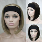 Lady Short Straight Natural Brown Black Bob Hair 3/4 Wig Cosplay Halloween Party