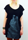 SALE! NEW 'BLOOM' SUPREMEBEING RETRO 70S LOBO LUNA WOLF TOP IN BLACK K42