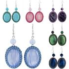 Handmade Oval Gemstone Dangle Earrings With Colorful Nylon Wire Twines Around