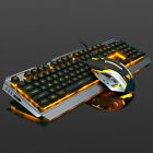 Durable Wired Mechanical Aluminum Panel Keyboard+ Mouse Luminous Gaming Set