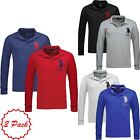 New Mens Long Sleeved 2 Pack US POLO ASSN Branded Designer Polo Shirt Cotton Top