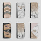 PERSONALISED MARBLE INITIALS LEATHER FLIP PHONE COVER FOR APPLE IPHONE SAMSUNG