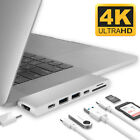 Aluminum USB Type-C 7in1 4K HDMI Hub Adapter Card Reader USB 3 for Macbook Pro