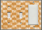 Metal Light Switch Plate Cover Antique Crackle Checkered Home Decor Orange White