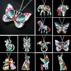 Women Printing Pattern Animal Dog Owl Elephant Butterfly Tags Pendant Necklace