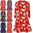 Ladies Womens Confused Reindeer Snowman Penguin Xmas Turtle Neck Dress Top