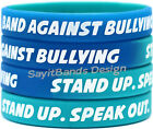 anti bullying wristbands - 20 Band Against Bullying Bracelets - Anti Bully Wristband Debossed Color Filled