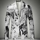 New Fashion Mens Flower Printed Slim Fit Suit Coat One Button Casual Jackets Sz