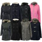 Ladies Padded Jacket Womens Coat Quilted DOWN Hooded Funnel Neck Lined Winter