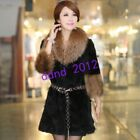 Women Luxury Natural Mink Fur Collar Slim Fit Thick Fox Long Coat Parka Overcoat