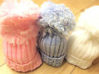 DREAM BABY WINTER LARGE POM POM  KNITTED HAT  0-12 MONTHS  OR  REBORN DOLLS