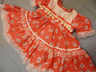 DREAM BABY GIRLS ROMANY SPANISH PEACH FLORAL POM POM DRESS 0-18 MONTHS OR REBORN