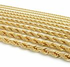 """Gold Rope Chain Necklace 2.5mm to 10mm Width 18"""" 20"""" 22"""" 24"""" 26"""" 30"""" 14k Plated  image"""