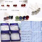20Pair/Box Wholesale Silver Colorful Crystal Ear Stud Earrings Women Jewelry Hot