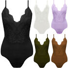 New Crochet Lace Strappy Plunge V Neck Floral Scallop Bodysuit Bodycon Top