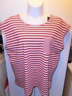Lane Bryant Sleeveless Blouse Shirt 22 /24 26 / 28 Red & White Striped NWT
