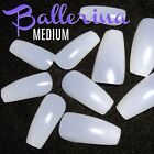 BALLERINA COFFIN MEDIUM Full Cover *NATURAL* Nail Tips! **YOU CHOOSE!**