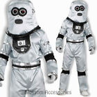 CL827 Robot Sci-Fi Silver Space Futuristic Fancy Dress Mens Suit Costume Helmet